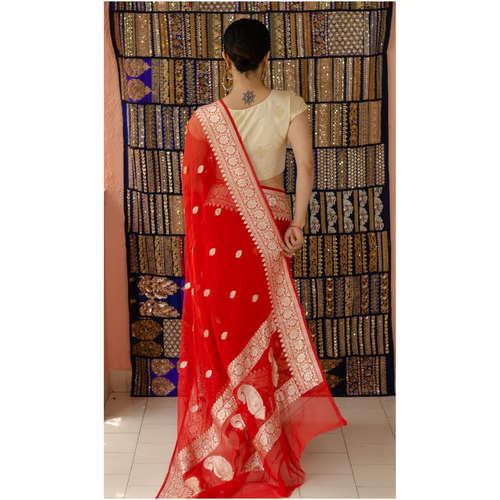Handloom kadhwa chiffon Banarasi silk saree with woven motifs.