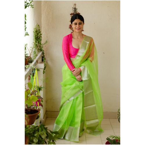 Soft  silk organza saree with silver zari banarasi border.