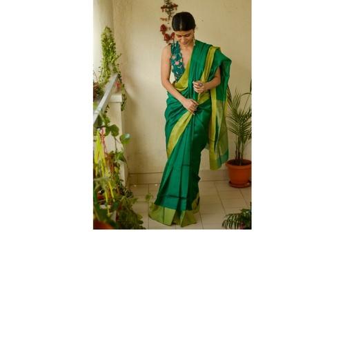 Handloom Chanderi Silk Saree with woven jari pallu.