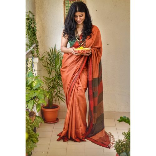 Handwoven tussar silk saree .
