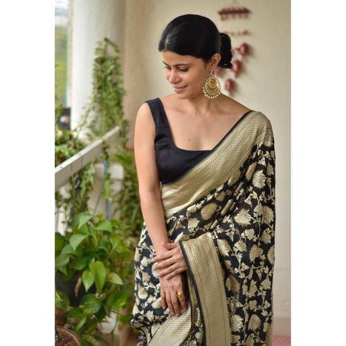 Handwoven kadiyal jal  motif Khaddi georgette Banarasi saree