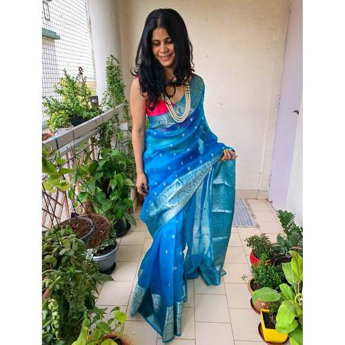 Handwoven organza sheer silk saree with motifs.
