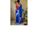 Handwoven kadwa chiffon banarasi saree with silver jari.