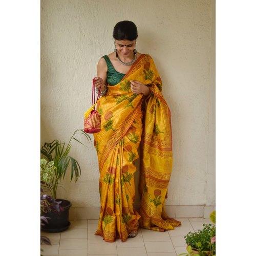 Handblock print tussar silk saree