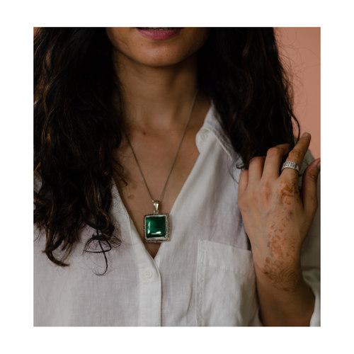 Handmade silver semi  emerald pendant with silver chain