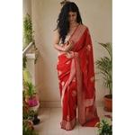 Handloom kadhiyal kadhuwa jari motifs khaddi georgett  silk banarasi saree.