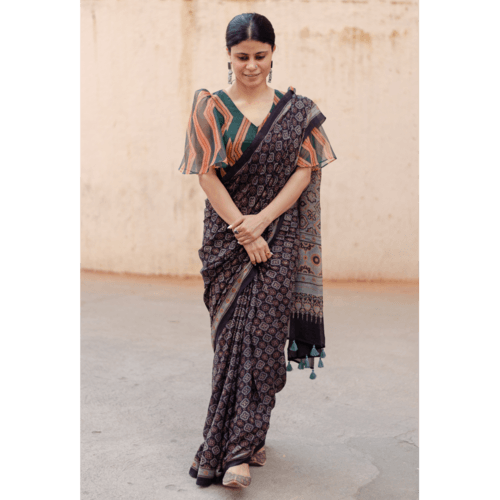 Natural dyed  intricate handblock printed Ajrakh chiffon silk saree