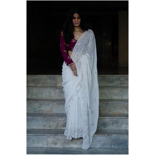 Handembroidered mukaish  pure georgette silk saree