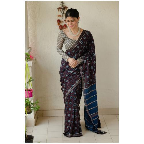 Handloom, Handblock printed and handmade natural dyed muslin cotton Ajrakh  saree.