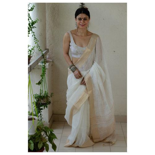 Handloom linen saree with woven border  and pallu