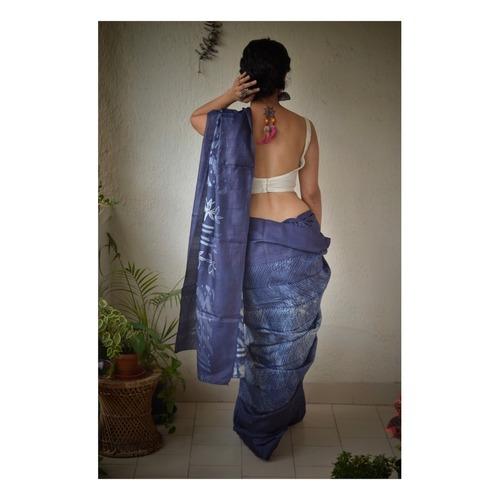 Handwoven and handmade tussar silk shibori saree