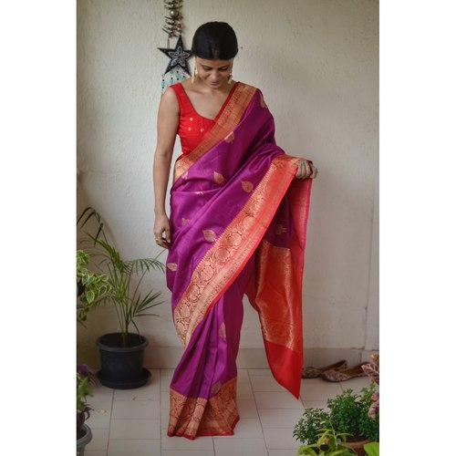 Handwoven Tussar Banarasi saree with  kadhwa motif saree with jari border and pallu