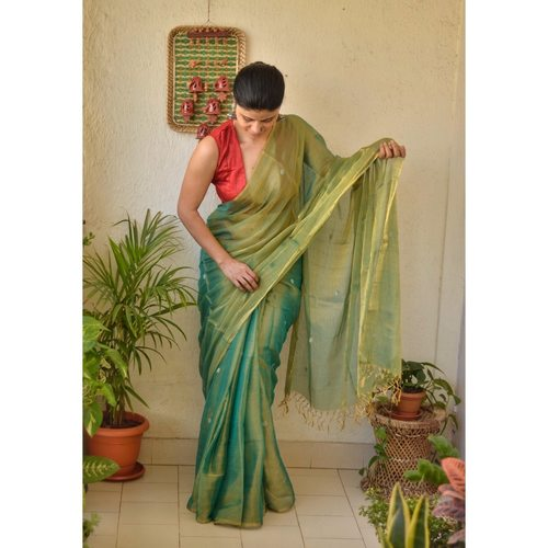 Handwoven metallic linen saree with silver golden jari bootis