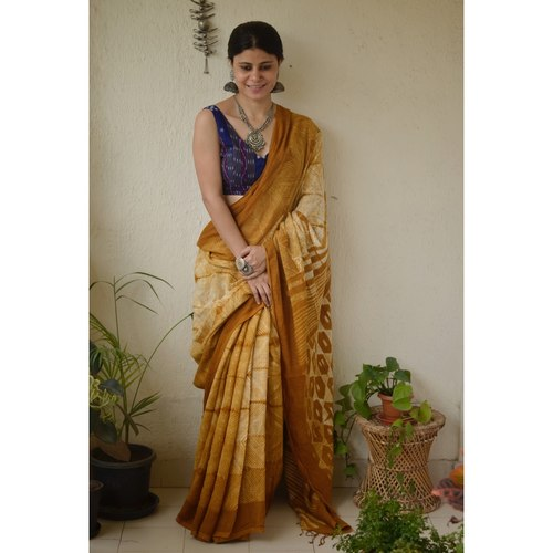 Handwoven linen saree in shibori.