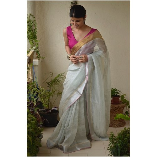 Handwoven jari warp linen saree with silver jari border