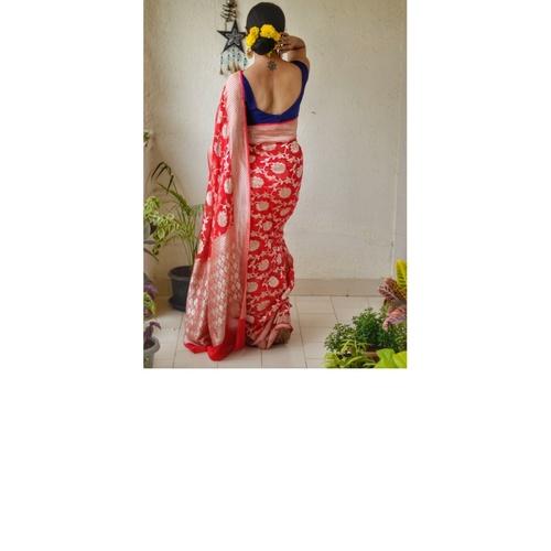 Handwoven Banarasi chiffon banarasi sari with meenakari silver jaal motif with jari pallu