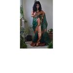 Handwoven Chanderi silk saree with meena motif and Jari border