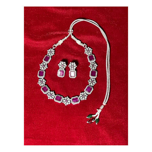 Handmade silver zircon stone neckpiece .