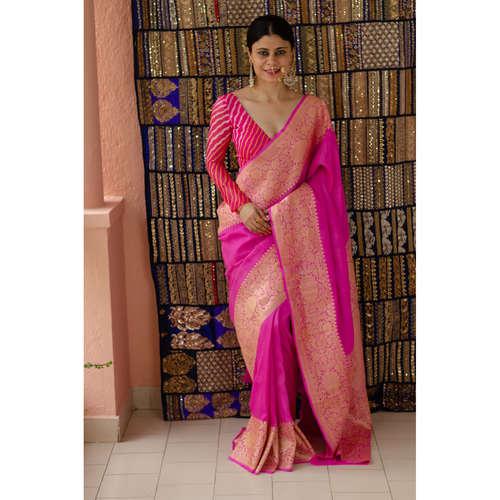 Handloom kadhwa moonga silk  banarasi saree with silver gold jari motifs.