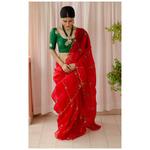 Handloom handembroidered organza resham silk saree enhanced with  resham thread scallops