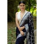 Handwoven kadwa chiffon banarasi saree with jaal work in pallu.