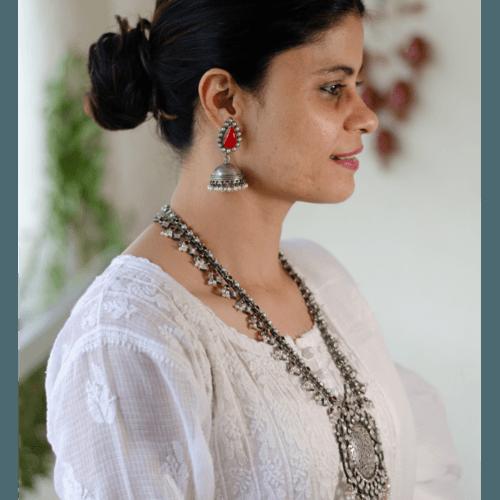 Handmade silver Jhumka