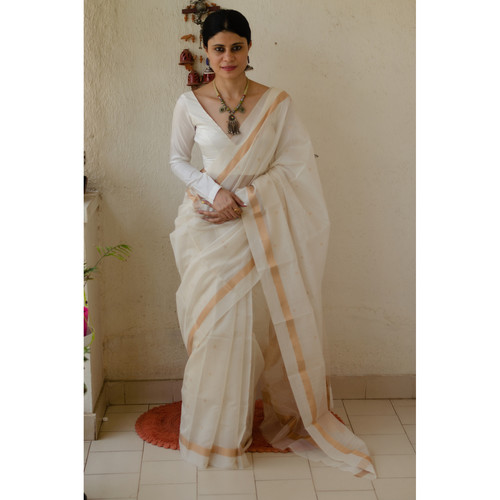 Handloom cotton silk chanderi saree with jari motifs.