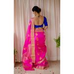 Handloom pattu silk chanderi  saree with woven jari motifs