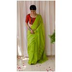 Handloom cotton chanderi silk saree with woven motifs.
