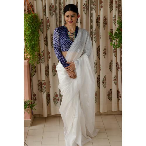 Handembroidered chikankari kota silk saree.