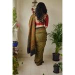 Small Handblock printed and handmade natural dyed Gajji silk Ajrakh  saree.