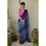 Handwoven linen saree in shibori