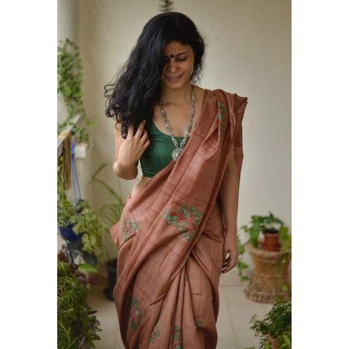 Handwoven Tussar silk saree with appliqué work and hand embroidered