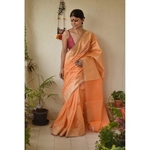 Handwoven Jamdani motif silk cotton banarasi  saree in powri motif