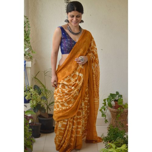 Handwoven linen saree in shibori