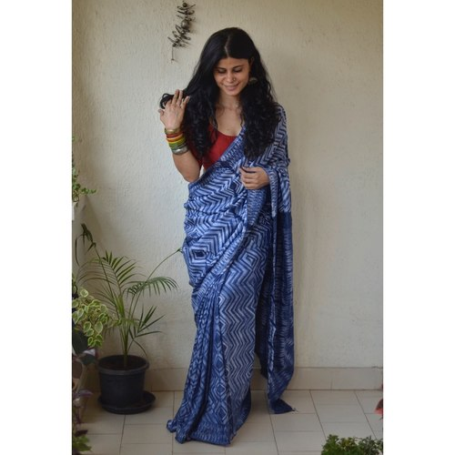 Handwoven and handmade Malbari  silk  saree in  shibori