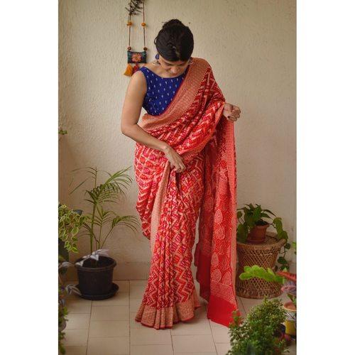 Handwoven khaddi georgette  bhandhini banarasi saree