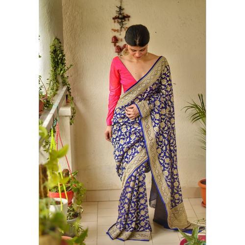 Handloom Khaddi Georgette Kadhwa jaal motifs banarasi saree