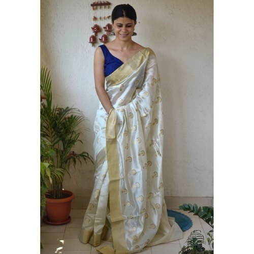 Handwoven chanderi silk saree with kadhwa meenakari motif