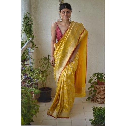 Handwoven katan silk banarasi saree with handwoven motifs