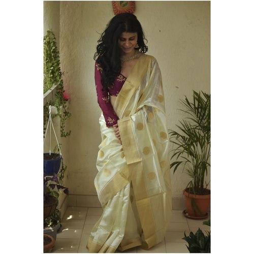 Handwoven chanderi silk saree with gold  border and gold jari motifs