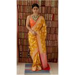 Handllom katan  Banarasi silk saree with woven motifs.