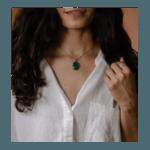 Handmade silver semi emerland  pendant with silver chain