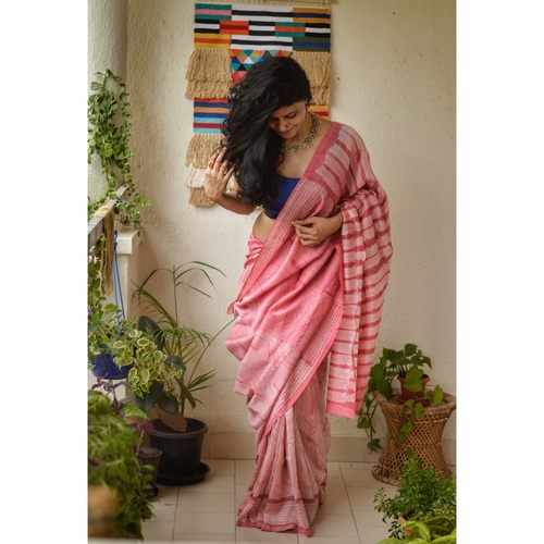 Handwoven Chanderi silk shibori saree