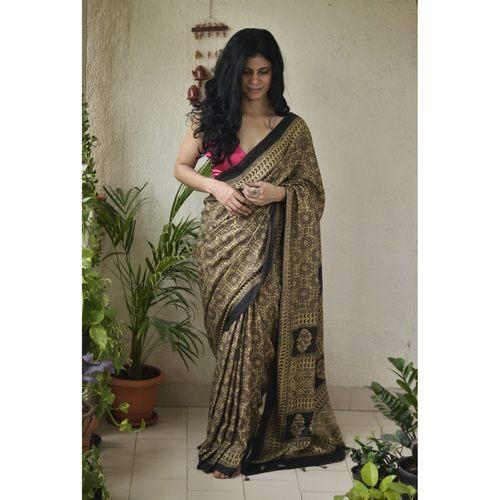 Handblock printed and handmade natural dyed modal silk Ajrakh  saree.