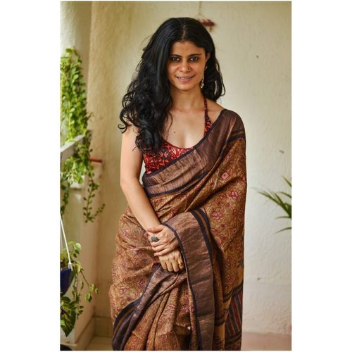 Handwoven  and handblock printed tussar silk saree.