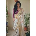Handwoven chanderi silk saree with gold  border and gold jari meenakari motifs