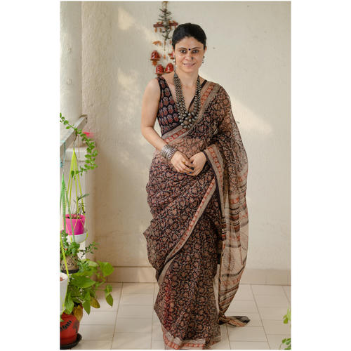 Hand block printed  and natural dyed kota doria saree