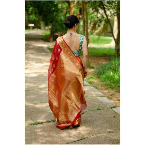 Handloom organza kora banarasi silk saree with jari motifs