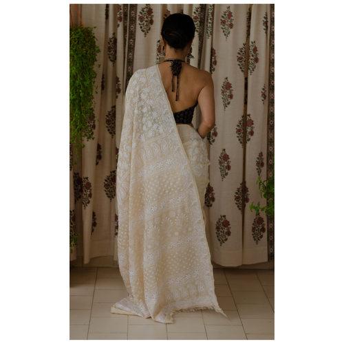 Tussar silk saree in handembroidered chikankari saree.